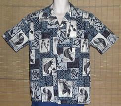 Punahou Apparel Hawaiian Shirt Fish Tiki Torches Turtles Blue White Blac... - $21.77