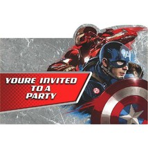 Captain America 3 Civil War Save The Date Party Invitations 8 Invites Count - $4.54