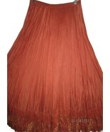 COLDWATER CREEK SILK BLEND CRINKLE STYLE BROOMSTICK SKIRT EMBROIDERY TRI... - $34.99