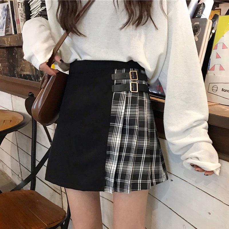 Black Navy Red Mini Plaid Skirt Women Street Style Pleated PLAID SKIRT Plus Size image 10