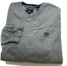 Chaps Ralph Lauren V-Neck Sweater Mens XL Gray Cashmere Cotton Long Sleeve - $41.14