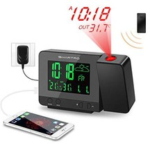 SMARTRO Digital Projection Alarm Clock with Weather Station, Indoor Outd... - $31.90