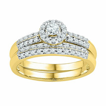 10kt Yellow Gold Round Diamond Bridal Wedding Engagement Ring Band Set 1... - €619,12 EUR