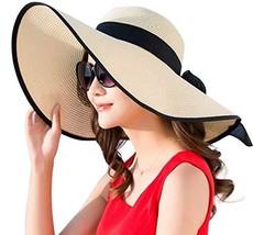 JOYEBUY Women Big Bowknot Straw Hat Floppy Foldable Roll up UV Protectio... - $19.33