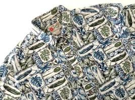 Hilo Hattie's Hawaiian Aloha Shirt Tapa Pattern Blue Green Ivory Size Large - $34.60