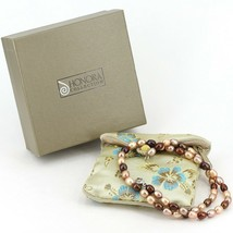 "18"" Single Strand Honora Oval Pearl Necklace Cream & Brown Tones Sterlin... - $21.99"