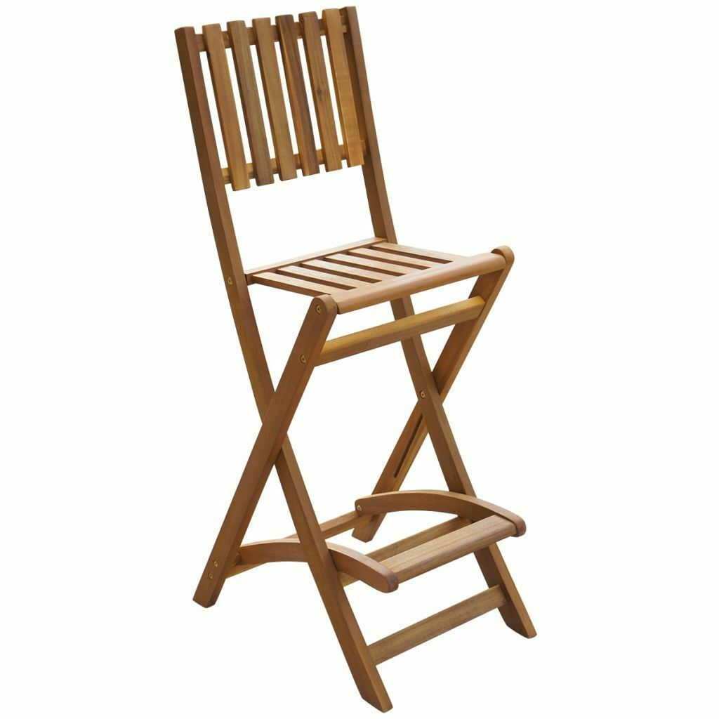 vidaXL Set of 2 Patio Wood Bar Stools Outdoor Acacia Wooden Chair Seats Garden image 2