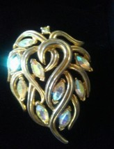 Vintage Signed CROWN TRIFARI PIN Gold Tone Rhinestone Teardrop Leaf Brooch - $13.99