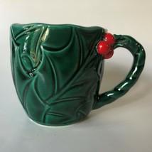 Vintage Lefton Christmas Holly & Berry Coffee Cocoa Mug Japan Green 1366 - $13.00