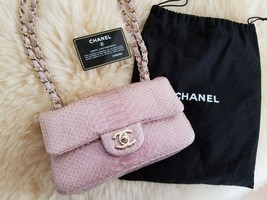 Chanel Matelasse 20 Chain Shoulder Bag Pink Python Leather Woman Auth Ne... - $5,484.60
