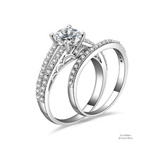 1 ct Round Cut Split 925 Sterling Silver Cubic Zirconia Engagement Ring Set - $52.56