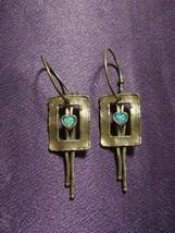 Sterling Silver Artisan Signed Southwestern Turquoise Heart Earrings AC PIP - $74.25