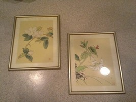 Pair Vintage Chinese Asian Paintings on Silk, Floral - $69.30