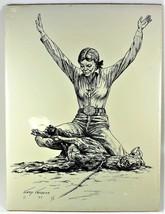 "Gary Ericsson Cowgirl Goat Roping  Print 12"" X 16"" 1983 image 1"