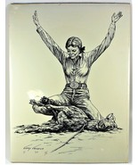 "Gary Ericsson Cowgirl Goat Roping  Print 12"" X 16"" 1983 - $29.69"