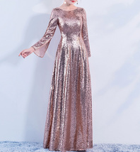 Long Sleeve Rose-Gold Maxi Sequin Dress Women Maxi Sequined Evening Wedding Gown image 6
