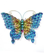 "23""  Metal Butterfly Design Wall Plaque - Blue, Orange, Purple & Yellow"