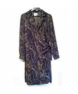 David Warren New York Size 14 Brown Paisley Wrap Maxi Long Sleeve Dress - $19.34