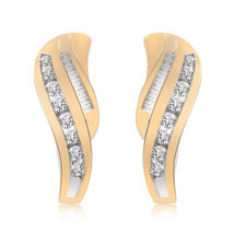0.50 Carat Diamond J-Hoop Earrings 14K Yellow Gold - $408.97