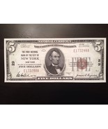 Reproduction $5 National Bank Note 1929 1st National Bank City of New York - $2.96