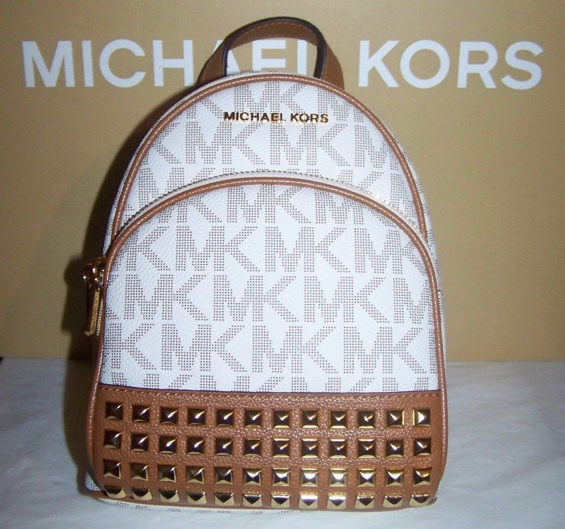 8547020e59b2be S l1600. S l1600. Previous. Michael Kors Abbey Studded Leather BackPack Crossbody  XS Vanilla Acn ...