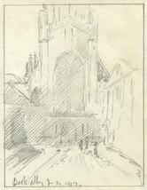 Marcus Adams - 1927 Graphite Drawing, Bath Abbey - $19.51