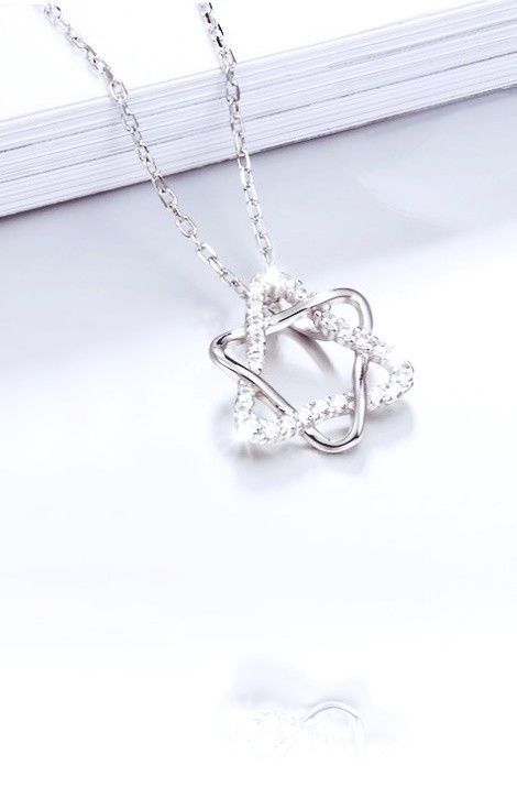 """NEW! Cubic Zirconia Star Of David Pendant Necklace 925 Sterling Silver 16"""" Chain"""