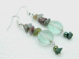 VTG Styled Silver Tone Multi Color Art Glass Polished Stone Bead Dangle Earrings - $19.80