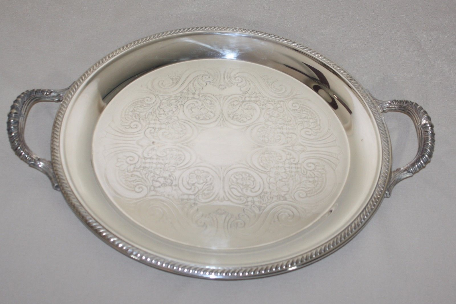 "Primary image for 15.5"" Round Silverplate Tray Rogers Oneida 6705 Handles Gadroon Edge Scrolls"