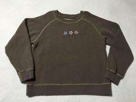 Life Is Good Girls M 10 12 Brown Three Daisy Flower Sweatshirt Pink Yell... - $8.79