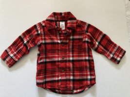 Carter's, Baby Boy Clothes, SZ 6 MO, Black and Red Plaid Flannel Oxford Shirt - $9.00
