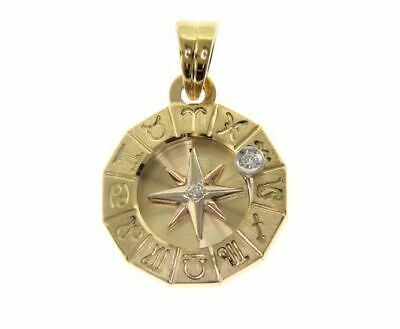 18K YELLOW GOLD ZODIAC SIGN 19mm DIAMOND PENDANT WIND COMPASS ZODIACAL