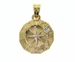 18K YELLOW GOLD ZODIAC SIGN 19mm DIAMOND PENDANT WIND COMPASS ZODIACAL image 1