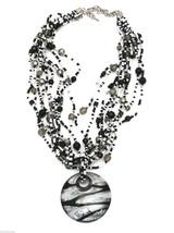 Handmade Black & White Beads Necklace Large Glass Fob + Earrings - $40.26