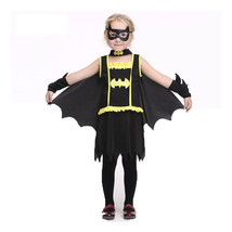 Baby Girl Batman Costume Eye Mask Cloak Dress Batgirl Halloween Cosplay ... - $41.99
