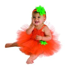 Infant Pumpkin Tutu Dress 6-9 Months Halloween Costume - $19.00
