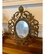 VTG Ornate BRASS FRAME Picture Art Nouveau Hollywood Regency Scrolled An... - $59.99