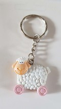 cute sheep keyring  handmade in uk from uk made parts keyring, keyfob in gift bo