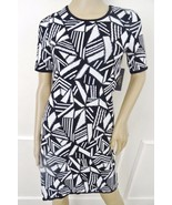 Nwt Laundry by Design Jacquard Short Sleeve Sweater Dress XS X-Small Bla... - $69.25