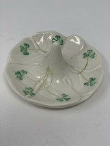 Belleek Irish Shamrock Fine China Ring Holder Ireland Four Leaf Clover 4... - $32.67