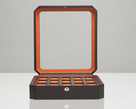 WOLF Windsor 15 Piece Watch Box (Brown/Orange) Storage Case 458506 - $160.00