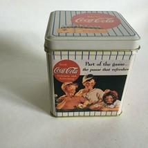 """Vintage 1992 Coca Cola Tin Can Boys In Baseball Uniforms 4"""" x 4"""" X 3""""  - $12.62"""