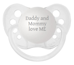 Daddy and Mommy love ME Baby Pacifier - Clear - Unisex - NUK Binky - 0-6... - $9.99