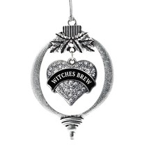 Inspired Silver Witches Brew Pave Heart Holiday Christmas Tree Ornament With Cry - $14.69