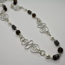NECKLACE THE ALUMINIUM LONG 88 CM WITH CHALCEDONY QUARTZ WHITE PEARLS image 2