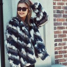 Women's Multicolor Luxury Designer Brand Fashion Faux Fur Coat image 3