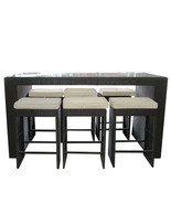 CC Outdoor Living 7-Piece Black Wicker Outdoor Furniture Bar Set Beige C... - $1,488.70