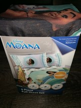 Moana ~ NEW 4 Piece Sheet Set Full Flat Fitted Pillow Cases Disney - $37.86