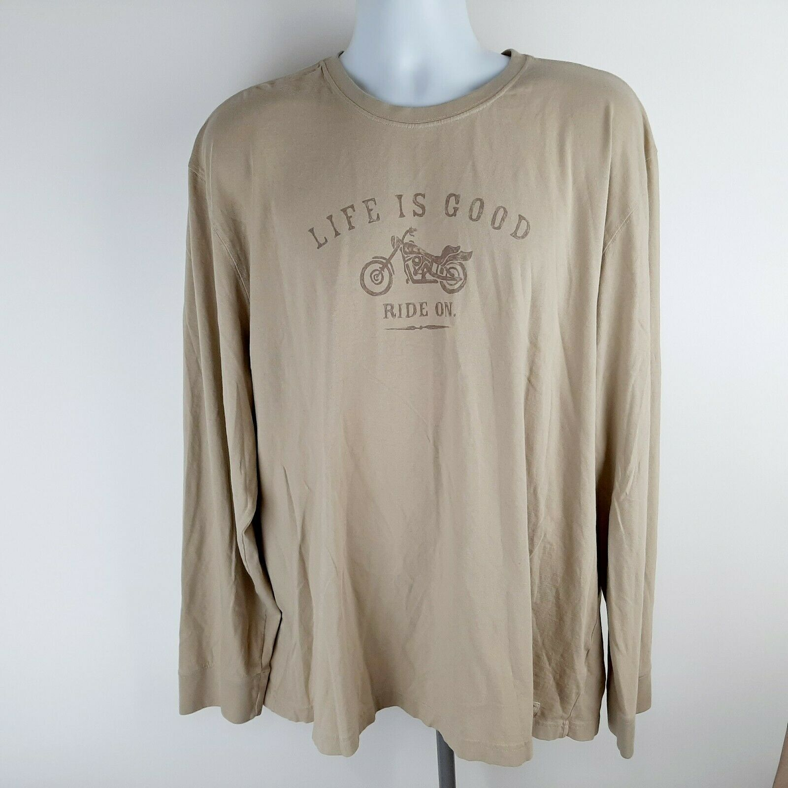Primary image for Life Is Good Men's Long Sleeve Tee Shirt Size 2XL Beige Motorcycle D350