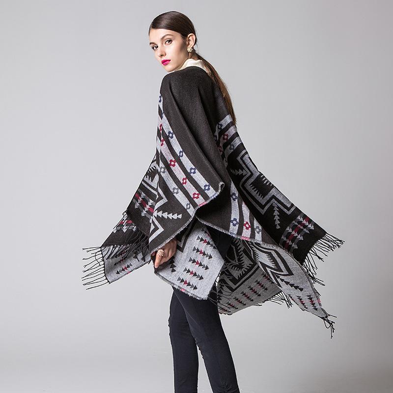 Women Winter Ethnic Style Warm Cape Wrap Patchwork Plaid Women Cloak Cape- black